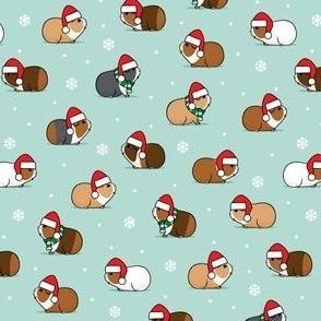 (small scale) Christmas Guinea pigs - polka dots on mint- LAD21