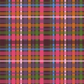 Berry Pink, Burnt Orange and Olive Green Geometric Medium Scale for Home Decor, Apparel and Accessories,  Plaid