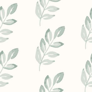 Jumbo Luminous Leaves - Cream and soft forsest green