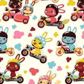 Funny Bunny Bikers for girls | White