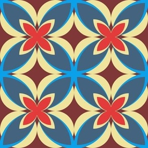 Mid Blue, Red and Burgandy Modern Frangipani, Medium Scale: Wallpaper, Soft Furnishings and Upholstery
