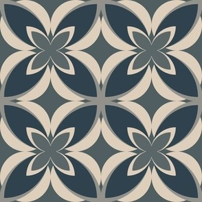Demin Blue, Gray and Cream Modern Frangipani, Medium Scale: home decor, apparel, soft furnishings and upholstery