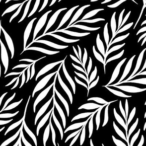 Ferns in White and Black - Large