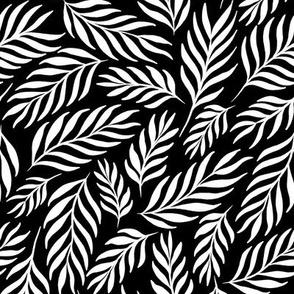 Ferns in White and Black - Medium