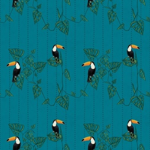 Toucan and Monstera on Teal