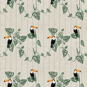 Toucan and Monstera on Beige