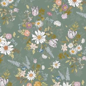 Eden Floral (sage) LRG