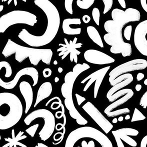 White and Black arty scribble patter