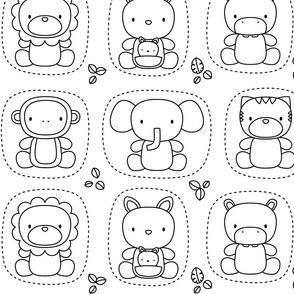 XL animal babies black and white coloring - jungle baby lions tigers monkeys elephants giraffes kangaroos hippos koalas - nursery decor pattern boys girls