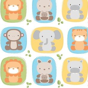 XL animal babies blues - jungle baby lions tigers monkeys elephants giraffes kangaroos hippos koalas - nursery decor pattern boys girls