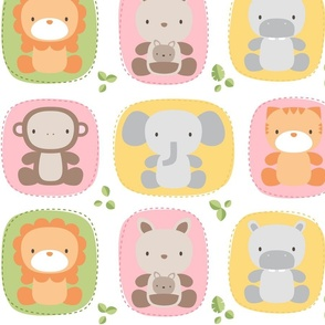 XL animal babies pinks - jungle baby lions tigers monkeys elephants giraffes kangaroos hippos koalas - nursery decor pattern boys girls