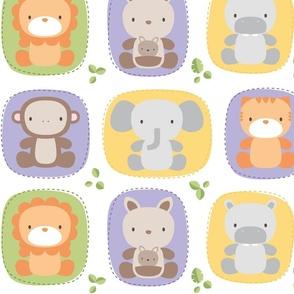 XL animal babies purples - jungle baby lions tigers monkeys elephants giraffes kangaroos hippos koalas - nursery decor pattern boys girls