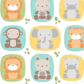 XL animal babies teals - jungle baby lions tigers monkeys elephants giraffes kangaroos hippos koalas - nursery decor pattern boys girls