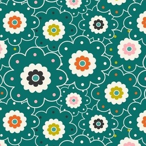 Flower Garden - Retro Girl Dark Teal Outline Regular Scale