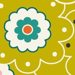 Flower Garden - Retro Girl Lime Green Outline Jumbo Scale