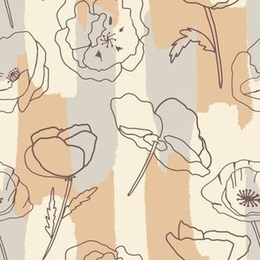 Pretty Poppies - tan - Pop tart in nuetral - Flowers with tan stripes