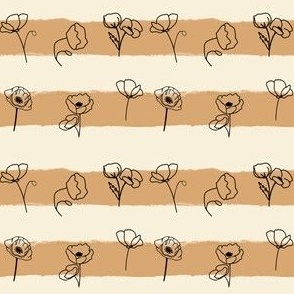 Pretty Poppies - Garden Row - Tan Stripes with flower outlines