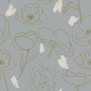 Pretty Poppies - Tan - Pick me - grey flower outline
