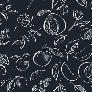 peaches in dark grey