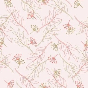 Pink Floral And Leaves