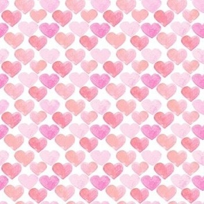 Pink Hearts Watercolor