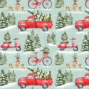Small Scale / Christmas Traffic / Mint Textured Background