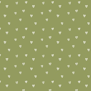 Little Hearts in Forest Green