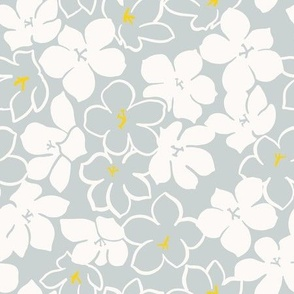 Blue-Tansy Pink wishes - Floating Flower, large grey and white flower