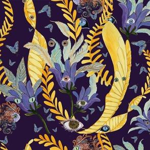 Phantasmagoria_here's_looking_at_you_yellow_gold_blue_pale_blue_purple_orange_on_dark_purple