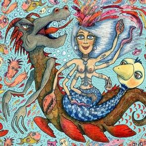 phantasmagoria, Beautiful Mermaid Mother of Millions, jumbo large scale, red orange yellow green blue indigo pink coral brown gray aqua quirky boho tropical
