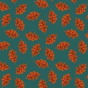 SMALL oak leaf fabric - autumn leaves fabric -orange and green