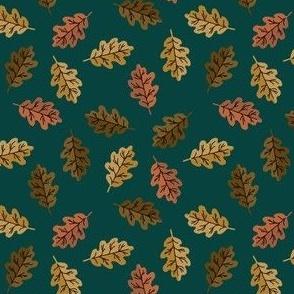 SMALL oak leaf fabric - autumn leaves fabric - multi green