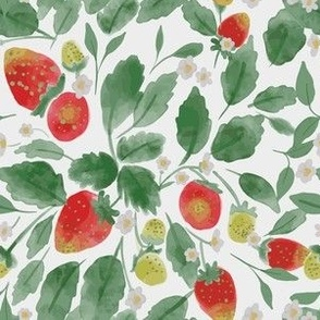 Strawberry Fields Watercolor, strawberries and leaves