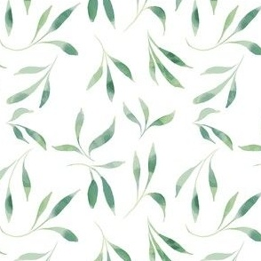 strawberry vines green watercolor leaves