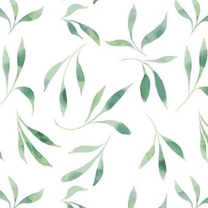 strawberry vines large print, watercolor simple leaves