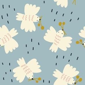 Birds Honey Blue - Jennifer Bouron for Nerida Hansen