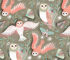 owls and moths in dusk // grey // medium scale