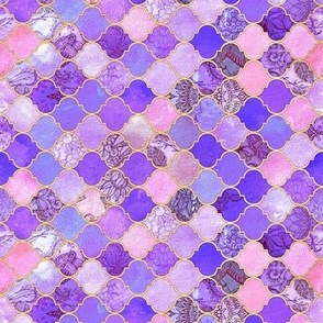 Rotated Pink, Purple and Gold Decorative Moroccan Tiles Tiny Print