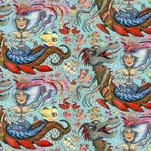 phantasmagoria, Beautiful Mermaid Mother of Millions, small scale, red orange yellow green blue indigo pink coral brown gray aqua quirky boho tropical