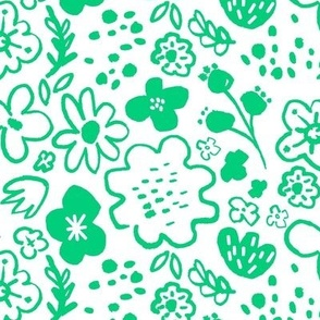 Inky floral green
