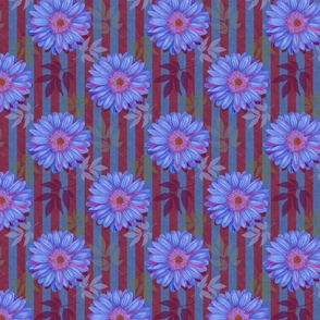 Blue Gerbera Daisies with blue/burgundy stripes and leaves