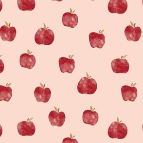 Watercolor Red Apples on Peach Fall Back to school