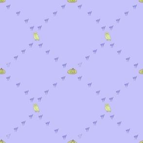 Cats, pumpkins and owls coordinating purple