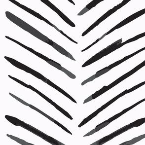 JUMBO // Watercolor Chevron Lines White & Black