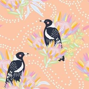 Clever Magpie Pastel Orange - Christie Williams for Nerida Hansen