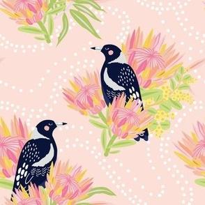 Clever Magpie Pink - Christie Williams for Nerida Hansen