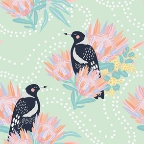 Clever Magpie Mint - Christie Williams for Nerida Hansen