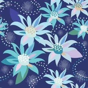 Abstract Flower Flannel Midnight - Christie Williams for Nerida Hansen