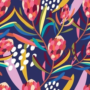 Abstract Protea Navy - Christie Williams for Nerida Hansen
