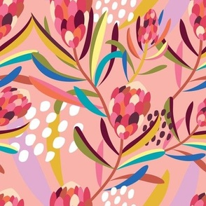 Abstract Protea Pink - Christie Williams for Nerida Hansen